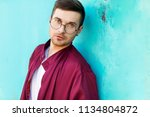 fashion hipster guy in glasses... | Shutterstock . vector #1134804872