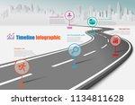 business road map timeline... | Shutterstock .eps vector #1134811628