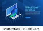 open laptop with authorization... | Shutterstock .eps vector #1134812375