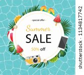 summer illustration for banner... | Shutterstock .eps vector #1134817742