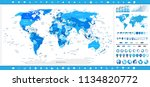 world map blue colors and... | Shutterstock .eps vector #1134820772