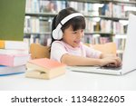 girls are using computers to... | Shutterstock . vector #1134822605