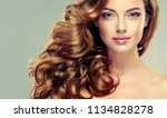 brunette  girl with long  and   ... | Shutterstock . vector #1134828278