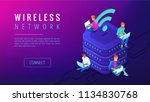 isometric wireless network... | Shutterstock .eps vector #1134830768