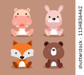 baby animal collection   vector ... | Shutterstock .eps vector #1134836462