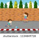 children drawing game on... | Shutterstock .eps vector #1134849728