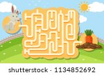 a rabbit puzzle maze game... | Shutterstock .eps vector #1134852692