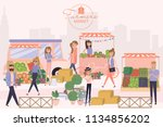 farmer's market poster with... | Shutterstock .eps vector #1134856202