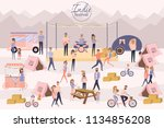 Indie festival poster with people walking, buying meals, ride a bike, taking photo, talking to each other, fun and dance, watch the performance, cartoon flat design. Editable vector illustration