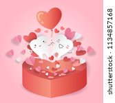 cartoon tooth with love concept ...   Shutterstock . vector #1134857168
