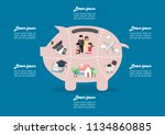 piggy bank saving money portion ... | Shutterstock .eps vector #1134860885