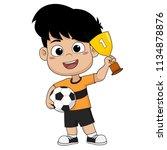 kid won the football match... | Shutterstock .eps vector #1134878876
