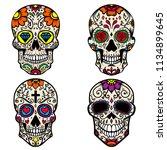 set of colorful sugar skull... | Shutterstock .eps vector #1134899645