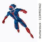 superhero flying action ...   Shutterstock .eps vector #1134902462