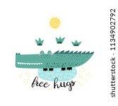 cute cartoon crocodile print.... | Shutterstock .eps vector #1134902792