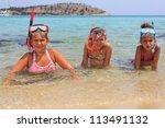 Girls on the beach - stock photo