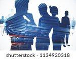 double exposure with teamwork...   Shutterstock . vector #1134920318