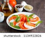 close up photo of caprese salad ... | Shutterstock . vector #1134922826