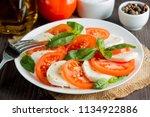 close up photo of caprese salad ... | Shutterstock . vector #1134922886