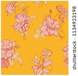mustard floral pattern | Shutterstock .eps vector #1134923198