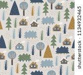 scandinavian forest vector... | Shutterstock .eps vector #1134932465