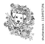 drawing doodle of dog head with ... | Shutterstock .eps vector #1134937196