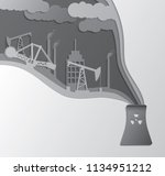 papercut industrial polluted... | Shutterstock .eps vector #1134951212