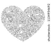 line art vector hand drawn set... | Shutterstock .eps vector #1134954692