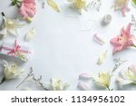 Stock photo flat lay composition with beautiful blooming lily flowers on white background 1134956102