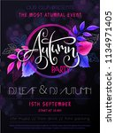 vector autumn party poster with ... | Shutterstock .eps vector #1134971405
