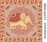 ethnic design with elepahant ... | Shutterstock .eps vector #1134973088