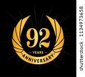 92 years anniversary. elegant... | Shutterstock .eps vector #1134973658