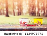 autumn composition with hot tea ... | Shutterstock . vector #1134979772