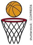 basketball hoop and ball  | Shutterstock . vector #113498056