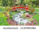 red japanese bridge above... | Shutterstock . vector #1134984386