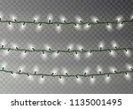 christmas white lights string.... | Shutterstock .eps vector #1135001495