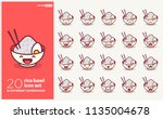 set of cute rice bowl emoji... | Shutterstock .eps vector #1135004678