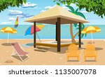 outdoor cabana bed at a resort | Shutterstock .eps vector #1135007078