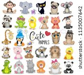 Set Of Cute Cartoon Animals On...