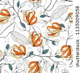 blossom floral seamless pattern.... | Shutterstock .eps vector #1135009058