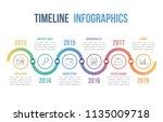 timeline infographics template  ... | Shutterstock .eps vector #1135009718