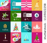christmas cards design set.... | Shutterstock .eps vector #1135022258
