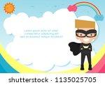 superhero kid on background... | Shutterstock .eps vector #1135025705
