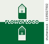 greenhouse logo with flower  | Shutterstock .eps vector #1135027502