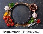 empty pan  with various...   Shutterstock . vector #1135027562