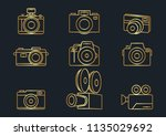 camera icons gold color vector...