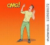 pop art frightened man. scared...   Shutterstock .eps vector #1135030172
