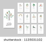 calendar 2019. templates with... | Shutterstock .eps vector #1135031102