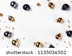 christmas flat lay frame with... | Shutterstock . vector #1135036502
