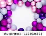 christmas flat lay round frame... | Shutterstock . vector #1135036535